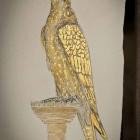 Golden Saker, 24 Karat Gold malerei 15 x 20 cm