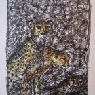 Geparden, Cheetah, Tusche, Aquarell 10 x 10 cm