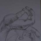 Bleistift Hände 40 x 40 cm