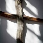 Kreuz 40 cm,   Betonguss und Eichenholz, 40 cm