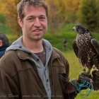 Me with my hunting falcon Luisa, female peregrine, Crowfalcon